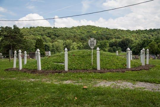 Burial mound of murdered Moravian Lenape in Gnadenhutten, Ohio.