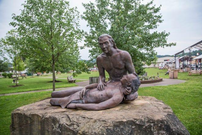 Statue of Lenape Chief Buckongehelas in Buckhannon, West Virginia.
