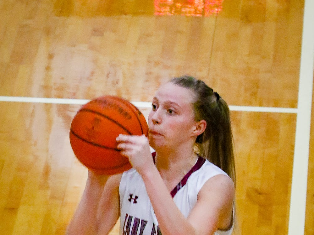 Eagleville's Anna Grace Clement goes up for a shot during the Lady Eagles' 65-18 win over Merrol Hyde Magnet in the Region 4-A quarterfinals Sunday.