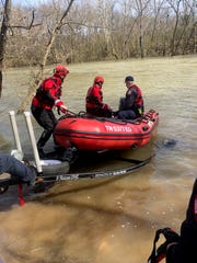 Murfreesboro Fire Rescue Department responded to the Stones River on Monday, Feb. 25, 2019, to rescue a man who was clinging to a tree in the rushing waters.