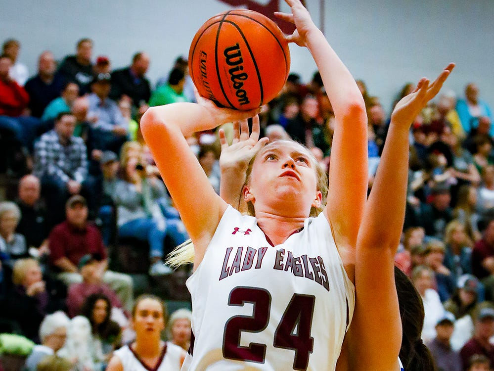Eagleville's Anna Grace Clement goes up strong during the Lady Eagles' 65-18 win over Merrol Hyde Magnet in the Region 4-A quarterfinals Sunday.