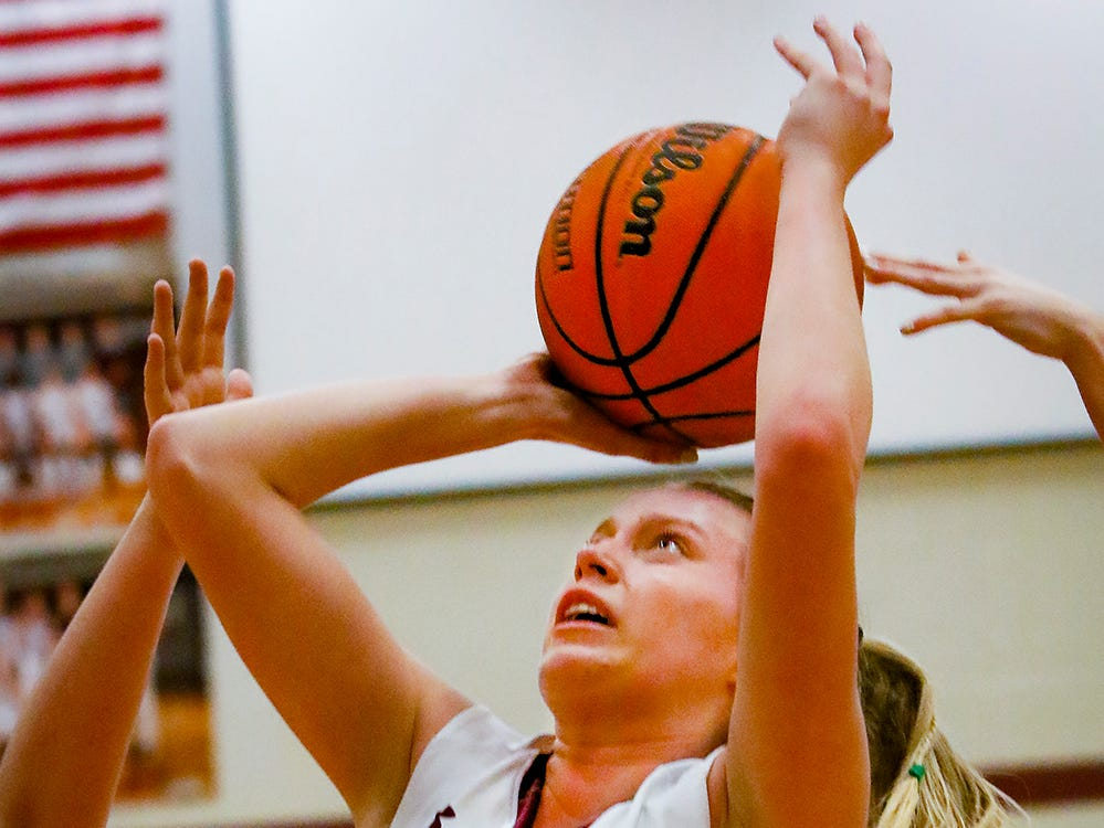 Eagleville's Anna Grace Clement fires a shot during the Lady Eagles' 65-18 win over Merrol Hyde Magnet in the Region 4-A quarterfinals Sunday.