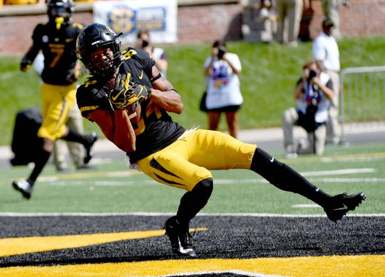 Missouri Tigers wide receiver Emanuel Hall (84) catches a pass for a touchdown during the first half against the Tennessee Martin Skyhawks at Memorial Stadium/Faurot Field Sept 1, 2018.