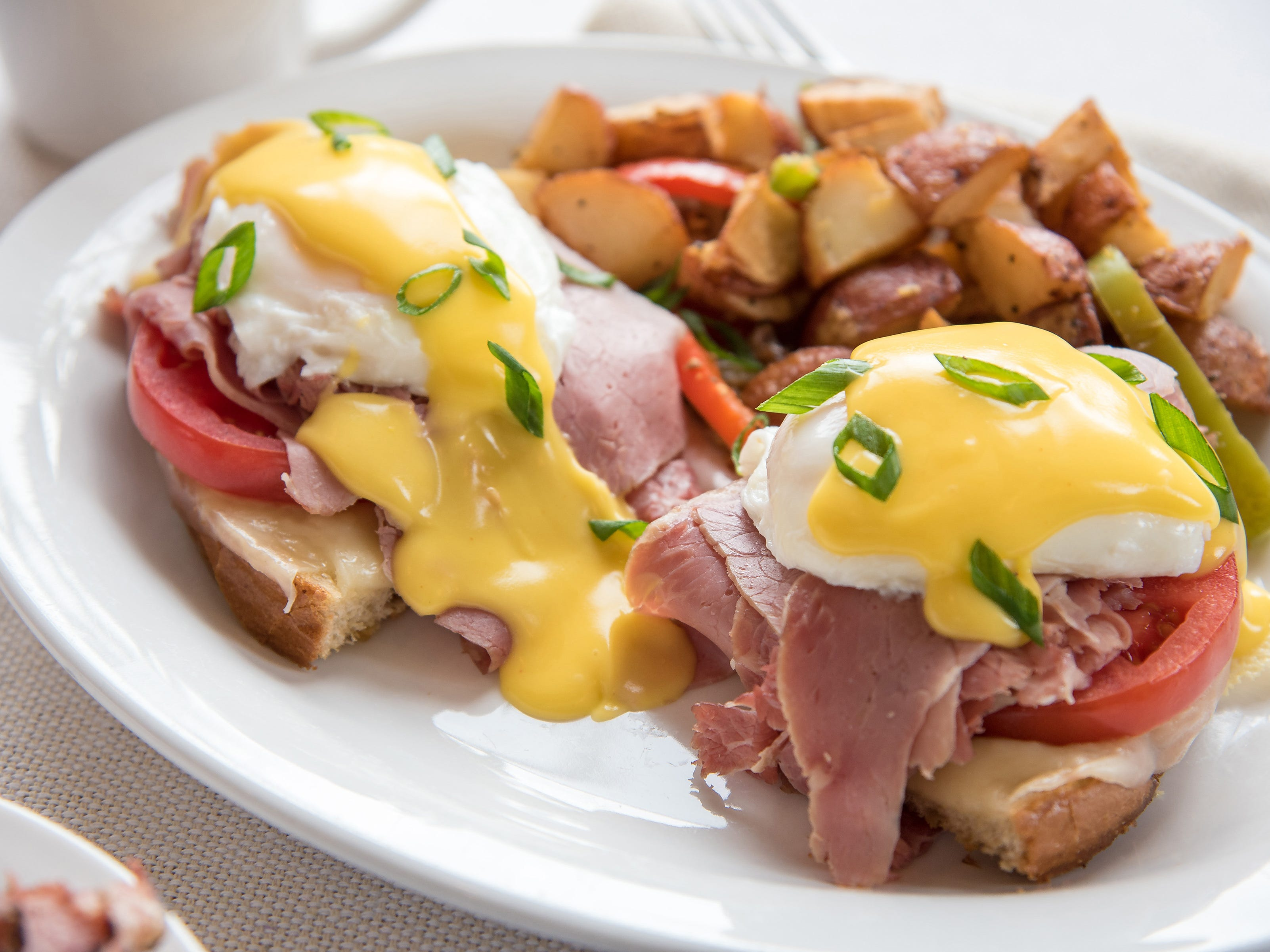Pastrami Eggs Benedict is one of many breakfast choices at TooJay's Deli.