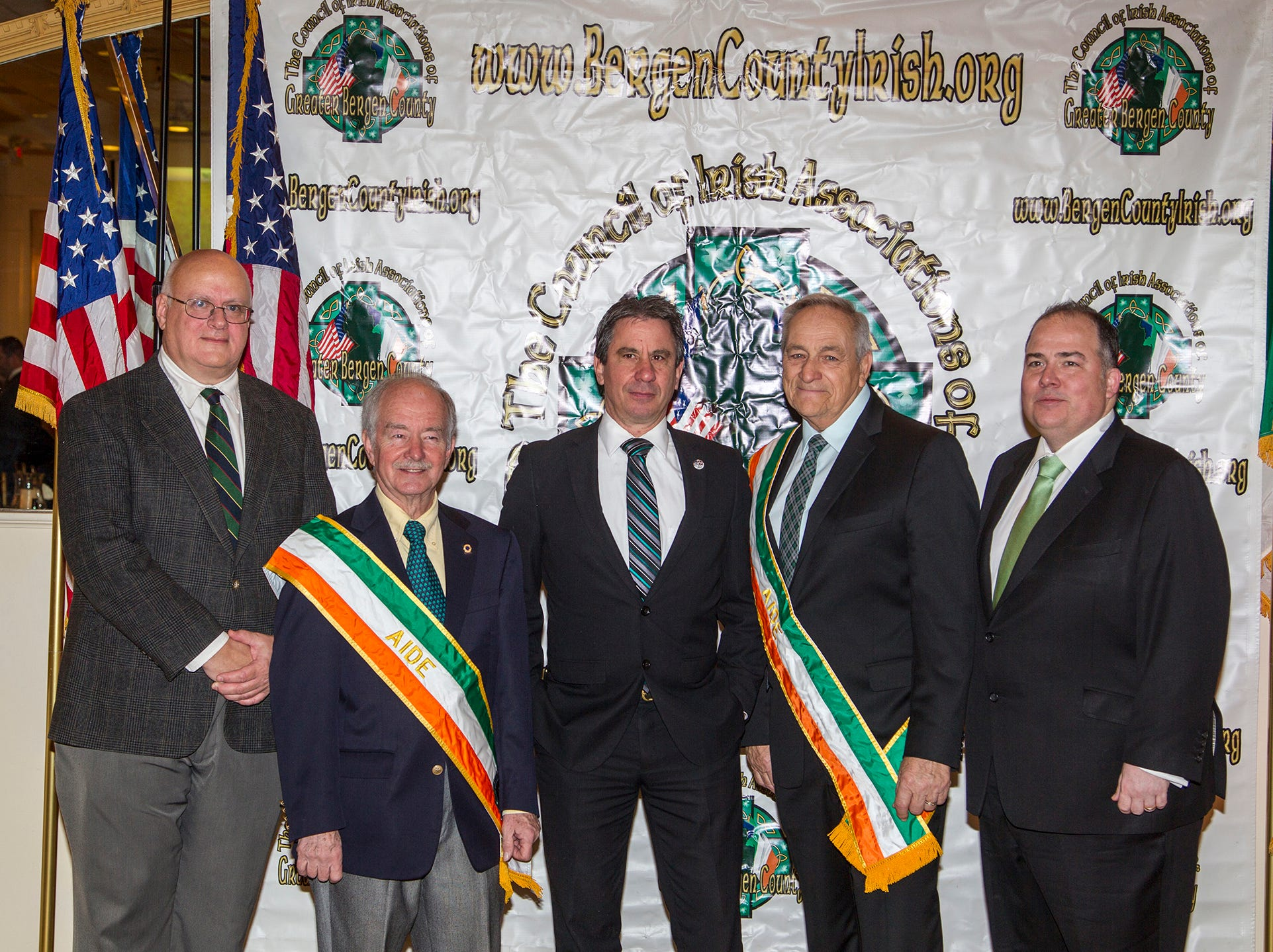 Kevin Duffy, Tom Neats, Norman Schmelz, Joe Verga, Tom O'Reilly. 38th Annual St. Patrick's Day parade Installation Dance at The Graycliff in Moonachie. 2/23/2019