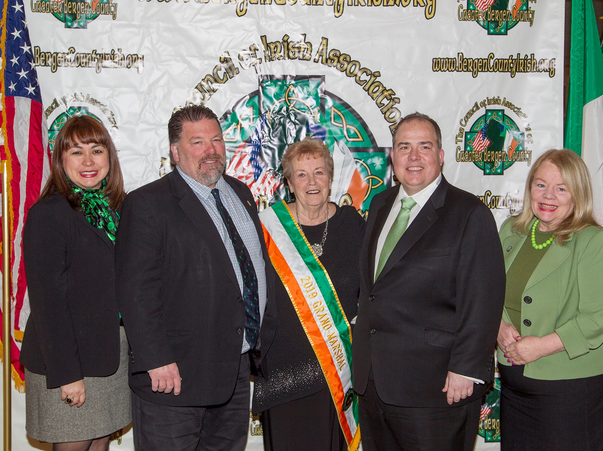 Freeholder Geramaine Ortiz, Freeholder Tom Sullivan, Patricia McLoughlin, Tom O'Reilly, Freeholder Mary Amorosi.  38th Annual St. Patrick's Day parade Installation Dance at The Graycliff in Moonachie. 2/23/2019