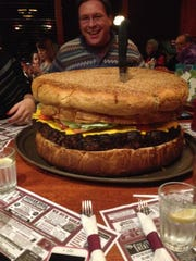 The 50-pound Mt. Olympus burger served at Clinton Station Diner in Clinton, N.J., takes five hours to prepare.    clintonstationdiner.com