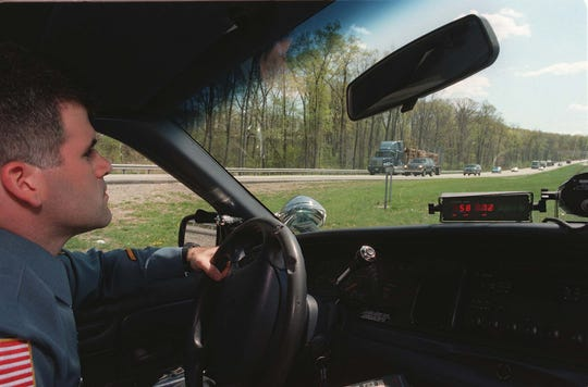 Capt. Stephen Jaffee as a patrol officer in April 1998 checking for speeders on Route 287.