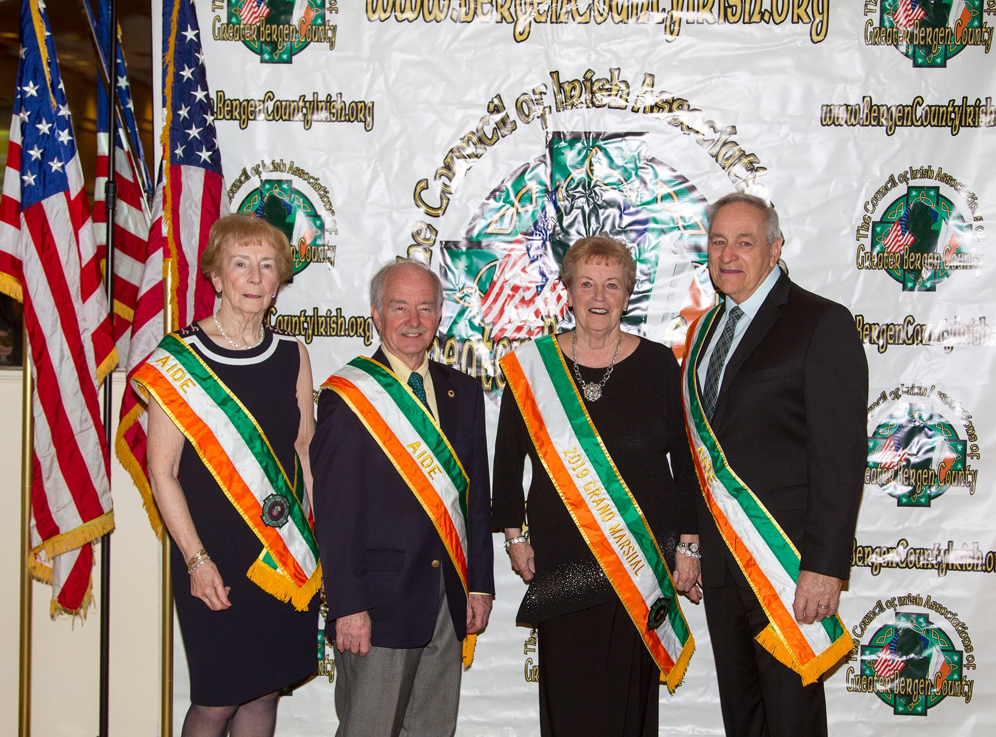 Anne Donnelly, Tom Neats, Patsy McLoughlin, Joe Verga. 38th Annual St. Patrick's Day parade Installation Dance at The Graycliff in Moonachie. 2/23/2019