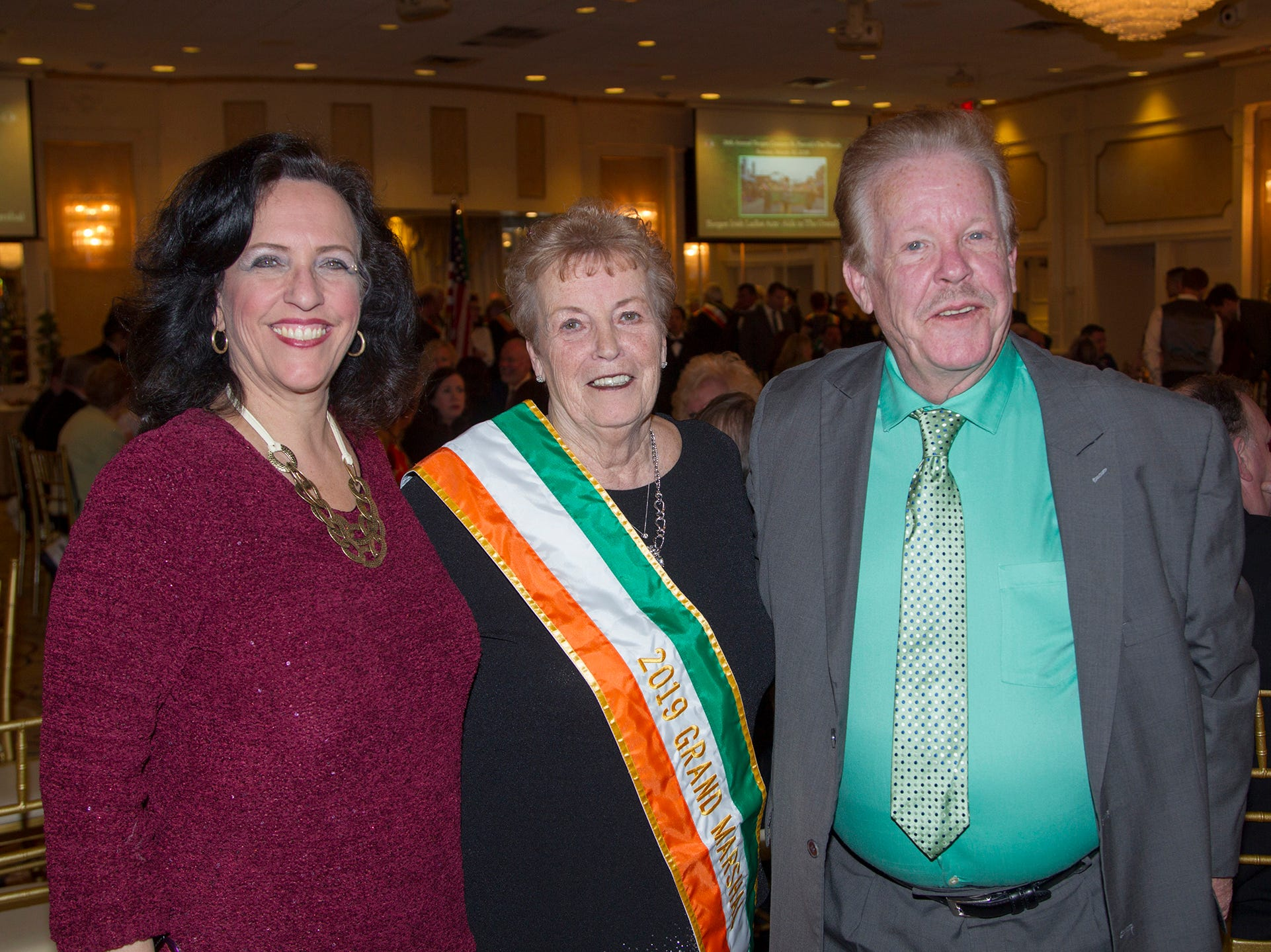 Karen Early Conway, Patircia McLoughlin, Jimmy Early. 38th Annual St. Patrick's Day parade Installation Dance at The Graycliff in Moonachie. 2/23/2019