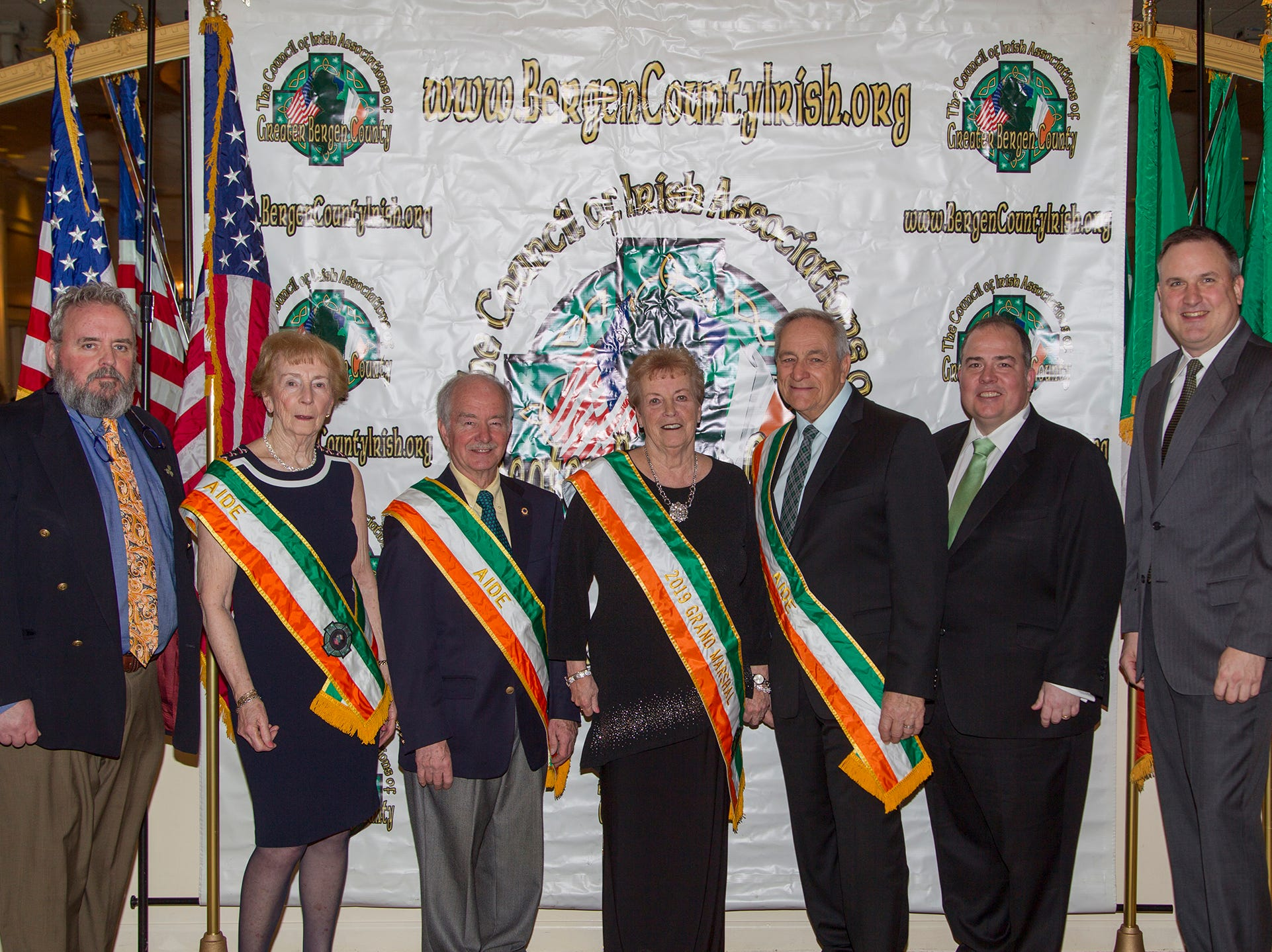 Peter Anne Donnelly, Tom Neats, Patsy McLoughlin, Joe Verga, Tom O'Reilly, John O'Malley. 38th Annual St. Patrick's Day parade Installation Dance at The Graycliff in Moonachie. 2/23/2019