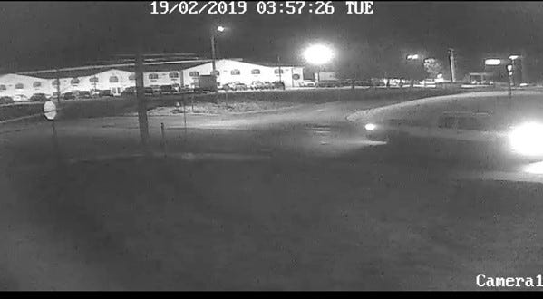 Video footage indicates a two-toned pickup truck driving around the 1400 block of North 8th Street Feb. 19. Police believe the vehicle may have been used in an arson fire.