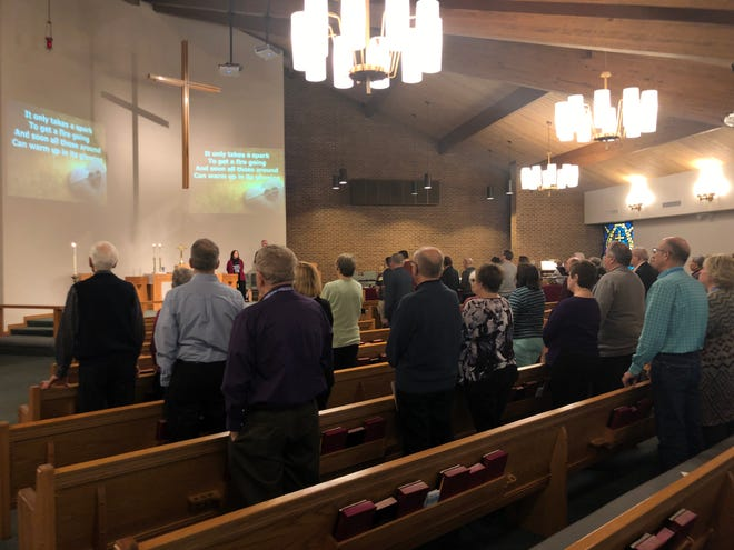 The congregation at South Lyon First United Methodist Church as seen on Feb. 24, 2019. In the day's sermon, Pastor Mary McInnes urged members to choose love although they may disagree over whether to allow  gay weddings and clergy in the church.