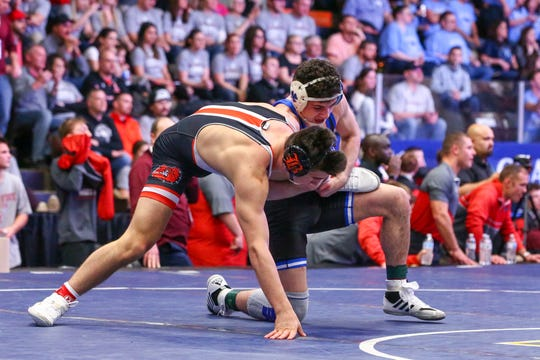 Detroit Catholic Central's Cam Amine defeated Brighton's Dane Donabedian in the 160-pound weight class during the state team finals.