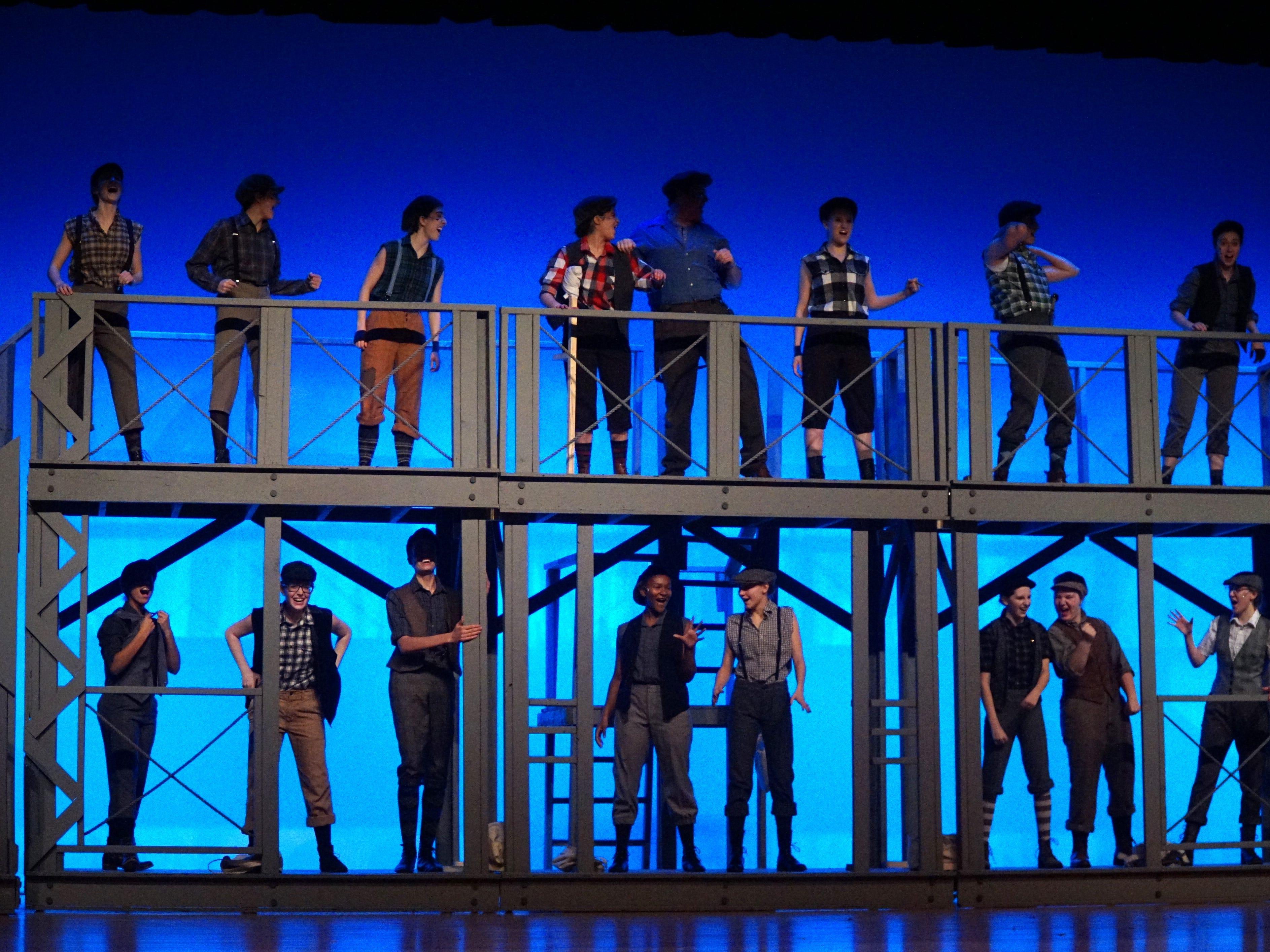 Student rehearse the musical Newsies at Mercy High in Farmington Hills on Feb. 25.