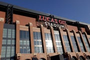 Exterior view of the west side of Lucas Oil Stadium, site of the 2019 NFL scouting combine. (AP Photo/AJ Mast)