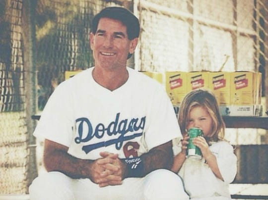 Steve Garvey and then-3-year-old daughter Olivia share some quality time during a spring training game. Olivia, now 24, is the new sports reporter at NBC Palm Springs.