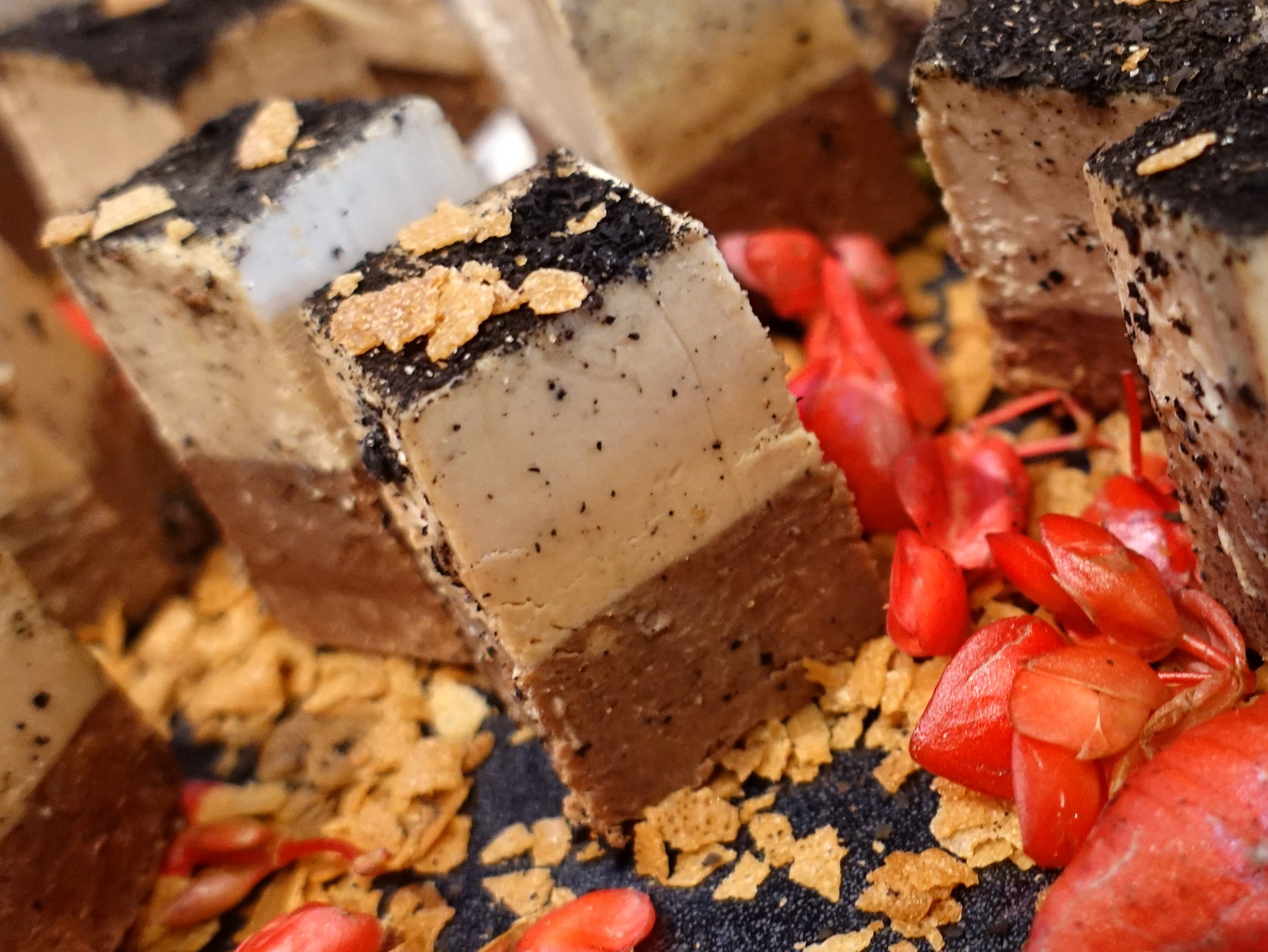 'Kit Kat' of foie gras with espresso chocolate, foie gras mousse and portobello powder from Geordie's Restaurant at the Wrigley Mansion at the 2019 Devour Culinary Classic at the Desert Botanical Garden in Phoenix.