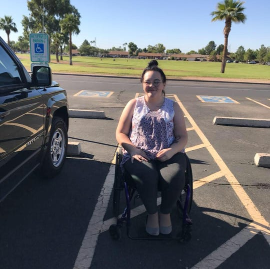 Josephine Siegel sitting in her wheelchair that was stolen from a driving facility in Tempe on Friday, Feb. 22, 2019.