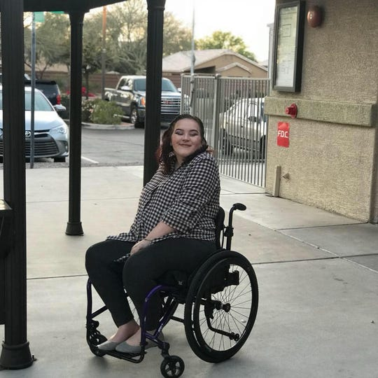 Josephine Siegel sits in her wheelchair that was stolen from a driving facility in Tempe on Friday, Feb. 22, 2019.