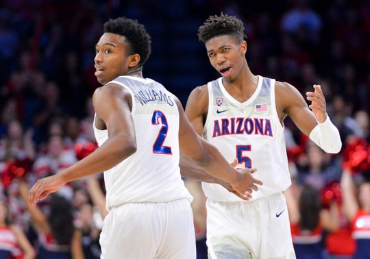 Feb 24, 2019: Arizona Wildcats guard Brandon Williams (2) and guard Brandon Randolph (5) (right) high five after scoring against the Stanford Cardinal during the second half at McKale Center.