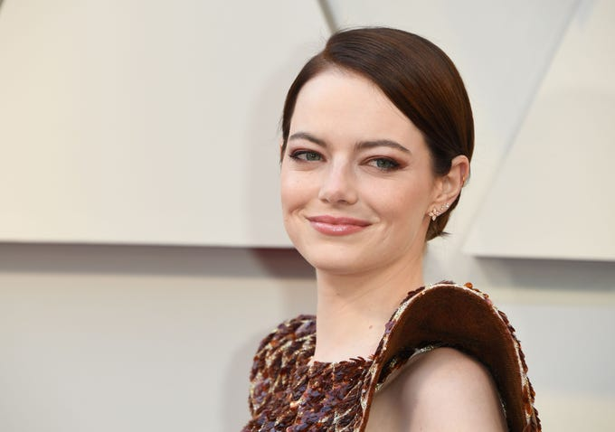 """Best Supporting Actress nominee for """"The Favourite,"""" Arizona native Emma Stone arrives for the 91st Annual Academy Awards at the Dolby Theatre in Hollywood, California on Feb. 24, 2019."""