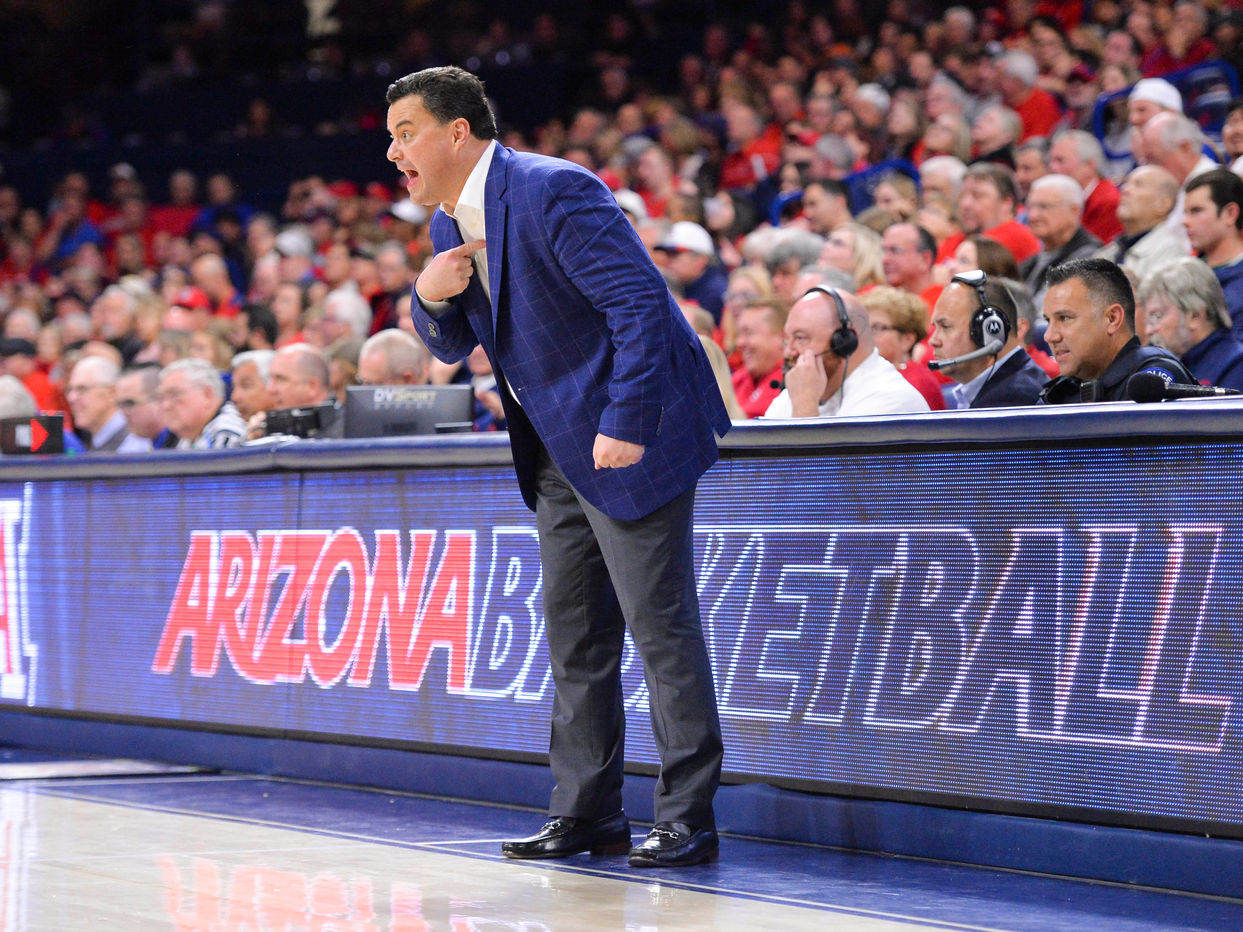Feb 24, 2019: Arizona Wildcats head coach Sean Miller reacts during the second half against the Stanford Cardinal at McKale Center.