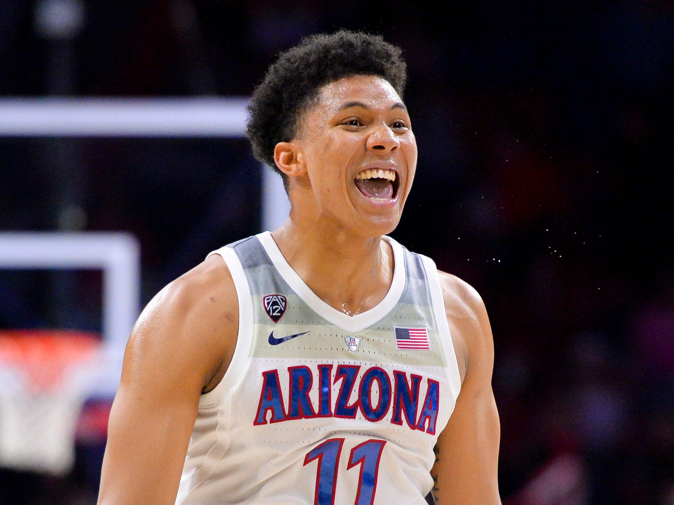 Feb 24, 2019: Arizona Wildcats forward Ira Lee (11) celebrates after defeating the Stanford Cardinal at McKale Center.