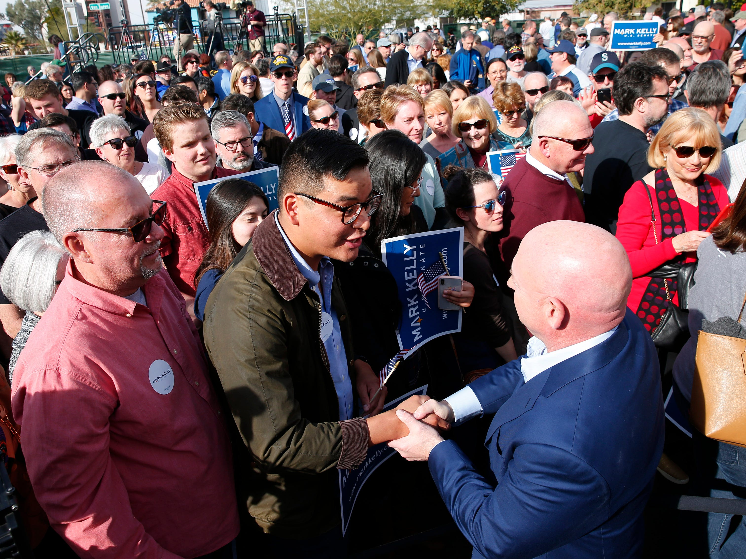 Mark Kelly greets his supporters during a Senate launch event in Phoenix, Ariz. on Feb. 24, 2019. Kelly is running as a Democrat for the late Sen. John McCain's seat.