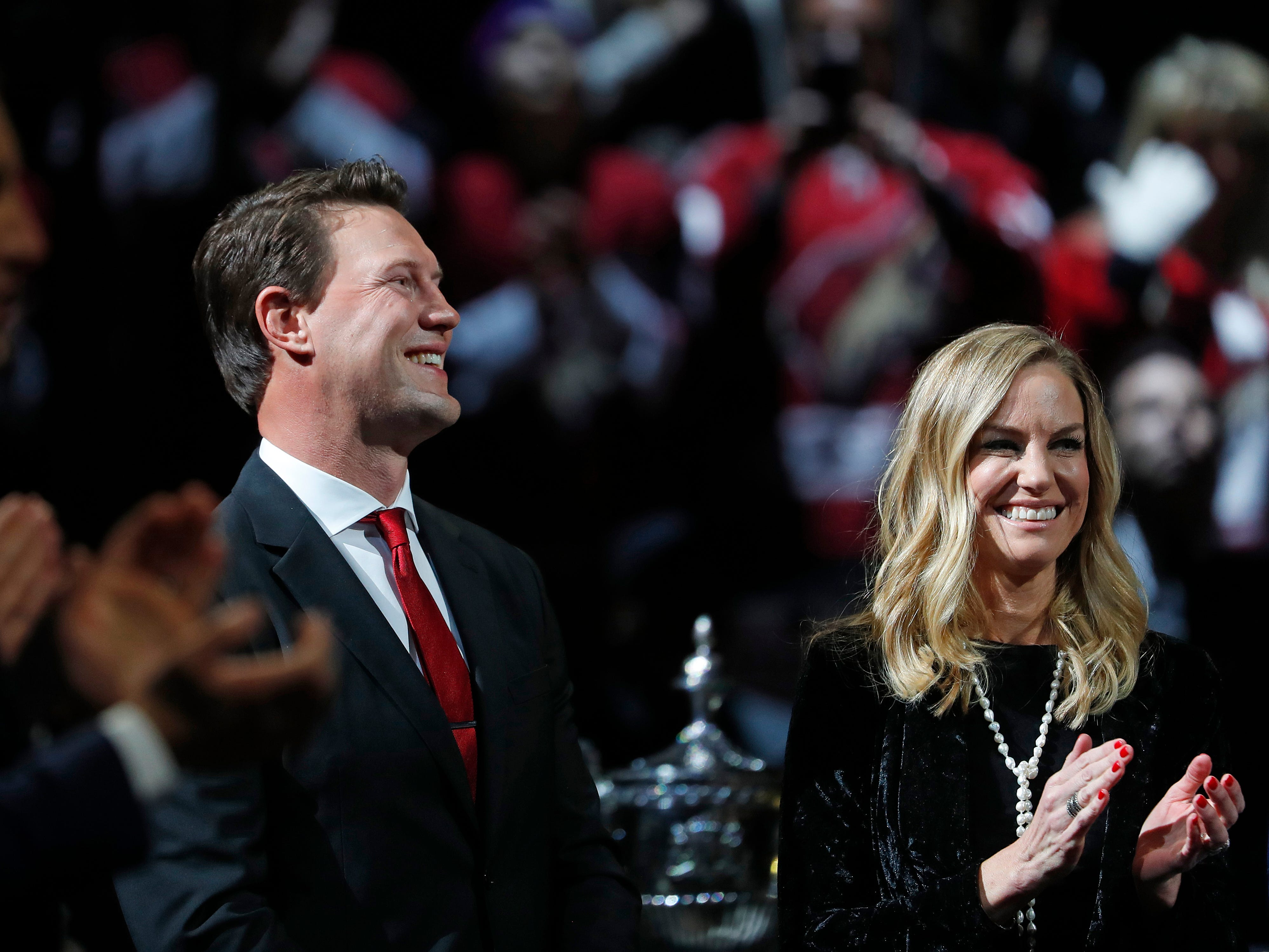 Shane Doan smiles as he receives a standing ovation during his jersey retirement ceremony at Gila River Arena in Glendale, Ariz. on February 24, 2019.