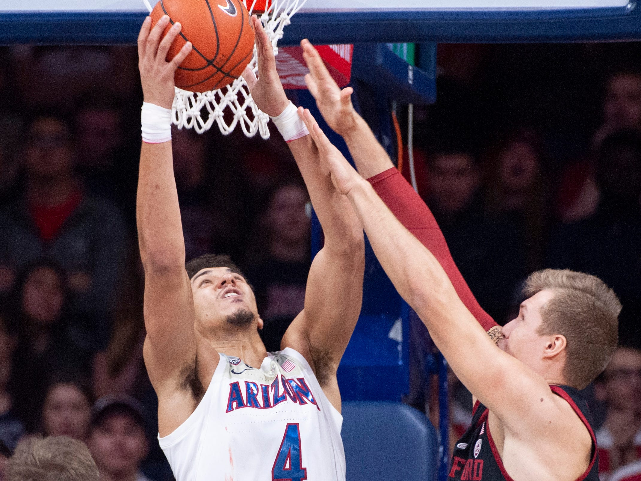 Feb 24, 2019: Arizona Wildcats center Chase Jeter (4) shoots against Stanford Cardinal forward Lukas Kisunas (32) during the first half at McKale Center.