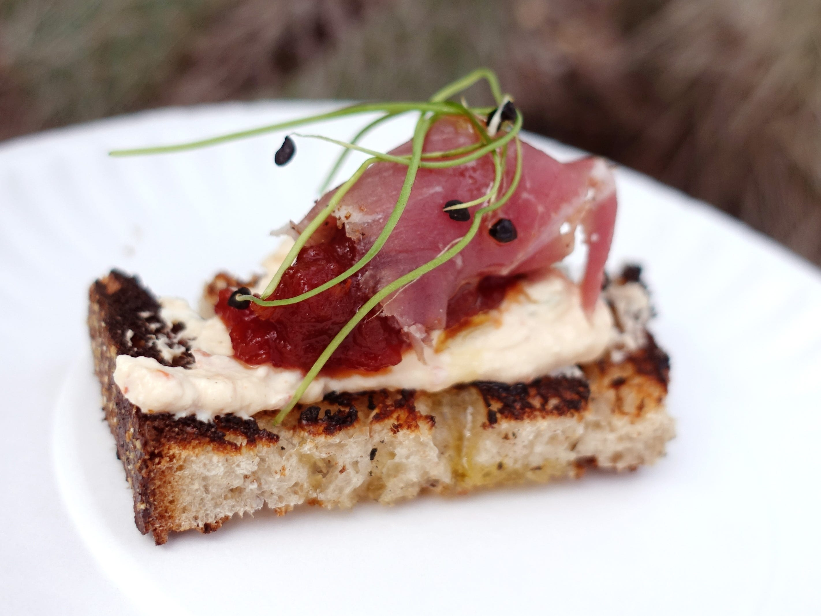 Pimento cheese with Allan Benton's aged ham, tomato jam and grilled Noble sourdough from The Larder + The Delta at the 2019 Devour Culinary Classic at the Desert Botanical Garden in Phoenix.