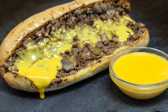 The cheesesteak sandwich from Forefathers Cheesesteaks at Tempe Diablo Stadium