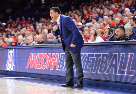 Arizona Wildcats head coach Sean Miller reacts during the second half against the Stanford Cardinal at McKale Center.