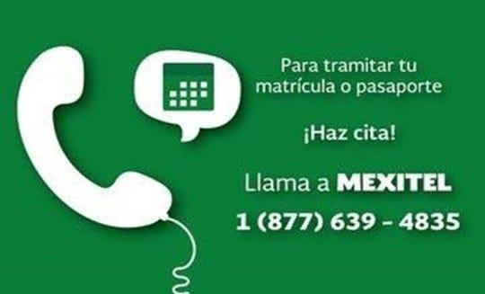 Para el trámite de la matrícula consular es necesario hacer cita al servicio de MEXITEL marcando sin costo.