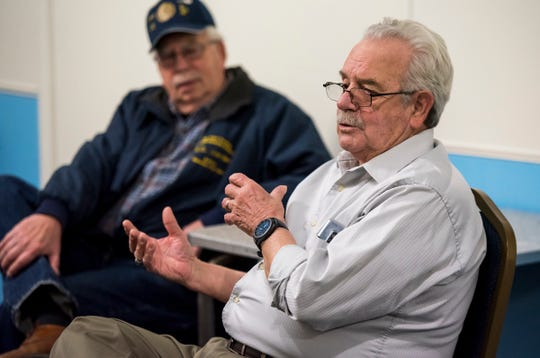 Chas. A Hammond, American Legion Post #8 Commander Richard Davis, right, discusses the post's history Thursday, Feb. 21, 2019. The post is celebrating its 100th anniversary.