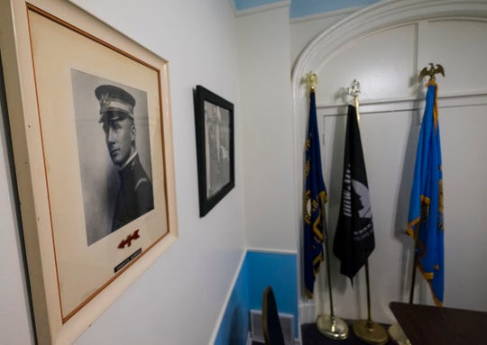 A framed photo of Charles A. Hammond hangs on the wall inside one of the American Legion Post #8's meetings rooms. Charles A. Hammond, who the post is named after, was a U.S. Army lieutenant from Port Huron, who was killed in France July 31, 1918, after being wounded taking out a machine gun nest. Hammond was buried in Lakeside Cemetery.