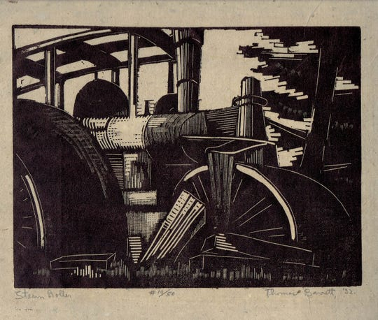 "Thomas W. Barrett Jr.'s ""Steam Roller"" (1932) will be included in an exhibition at Barrett Art Center's ""Springraiser"" March 3."