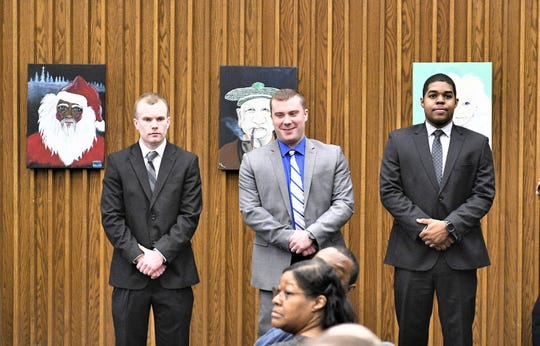 Michael Gately (left,) Bryan Hunt and Robert Green were sworn into the City of Poughkeepsie Police Department on Monday, Feb. 25, 2019.