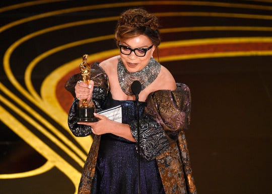 "Ruth E. Carter accepts the award for best costume design for ""Black Panther"" at the Oscars on Sunday, Feb. 24, 2019, at the Dolby Theatre in Los Angeles. (Photo by Chris Pizzello/Invision/AP)"