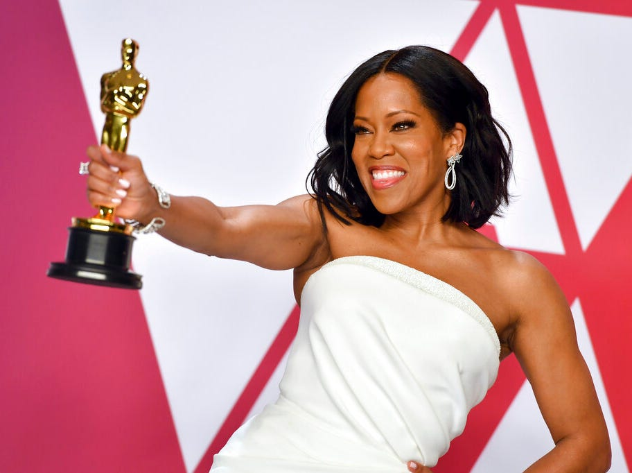 """Regina King poses with the award for best performance by an actress in a supporting role for """"If Beale Street Could Talk"""" in the press room at the Oscars on Sunday, Feb. 24, 2019, at the Dolby Theatre in Los Angeles. (Photo by Jordan Strauss/Invision/AP)"""