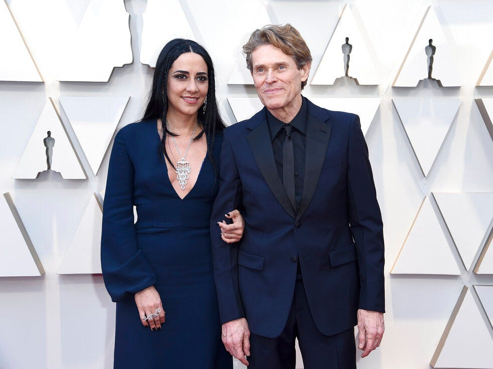 Willem Dafoe, right, and Giada Colagrande arrive at the Oscars on Sunday, Feb. 24, 2019, at the Dolby Theatre in Los Angeles. (Photo by Richard Shotwell/Invision/AP)