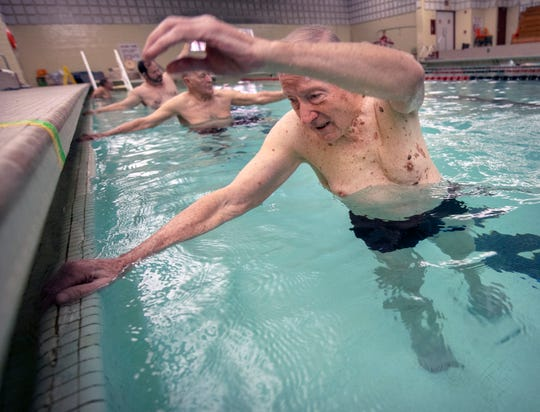 Jay Rentzel, 91, has been leading a water exercise class at the YMCA in downtown York five days a week for nearly 30 years. His philosophy in life is to keep moving.