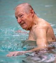 Jay Rentzel, 91, leads a Swimnastics class at the York YMCA on Monday.