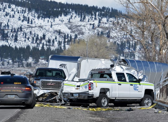 A Nevada Department of Transportation vehicle assisting a blown-over semi on I-580 in Washoe Valley was struck on Monday by another high-profile vehicle as it was being blown over.