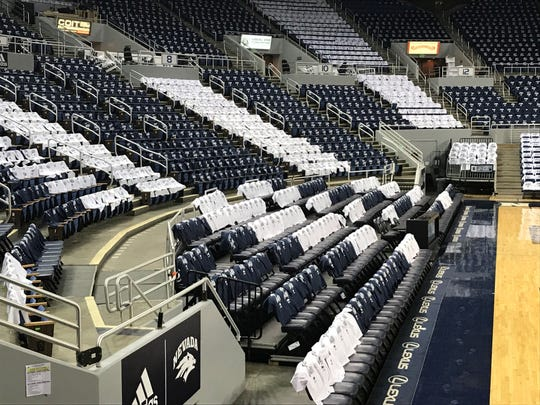 Wednesday night's game is Stripe Out Day for Nevada vs. UNLV. Blue and white shirts have been placed on every seat at Lawlor Events Center.