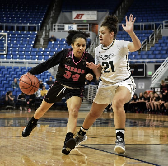 Nevada's Jade Redmon, shown in a game earlier this month, earned her first Mountain West weekly honor on Monday.