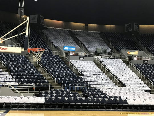 Wednesday's game is Stripe Out Day for Nevada vs UNLV. Blue and white shirts have been placed on every seat at Lawlor.