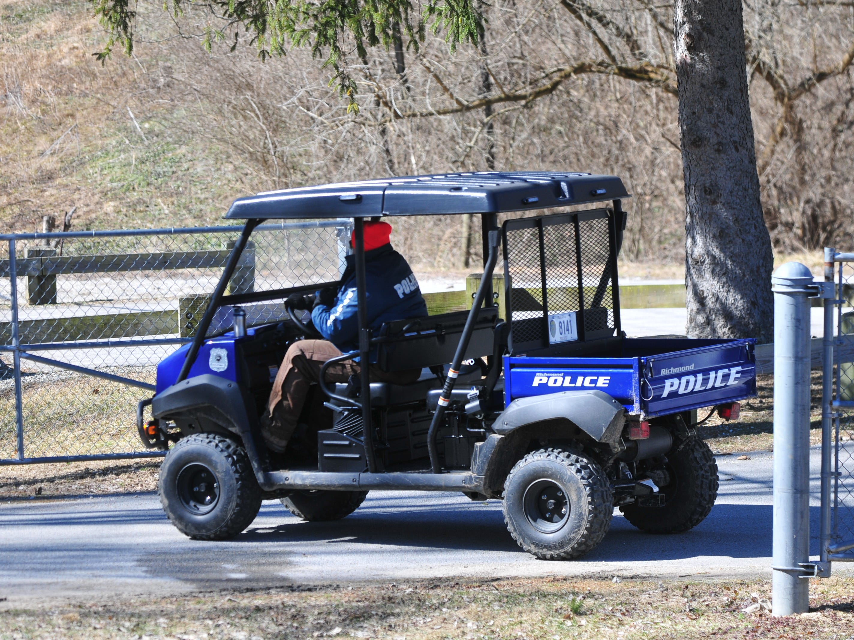 Richmond Police Department used an ATV to transport officers at the Test Road trail head Monday afternoon during the search for Jake Huntington.