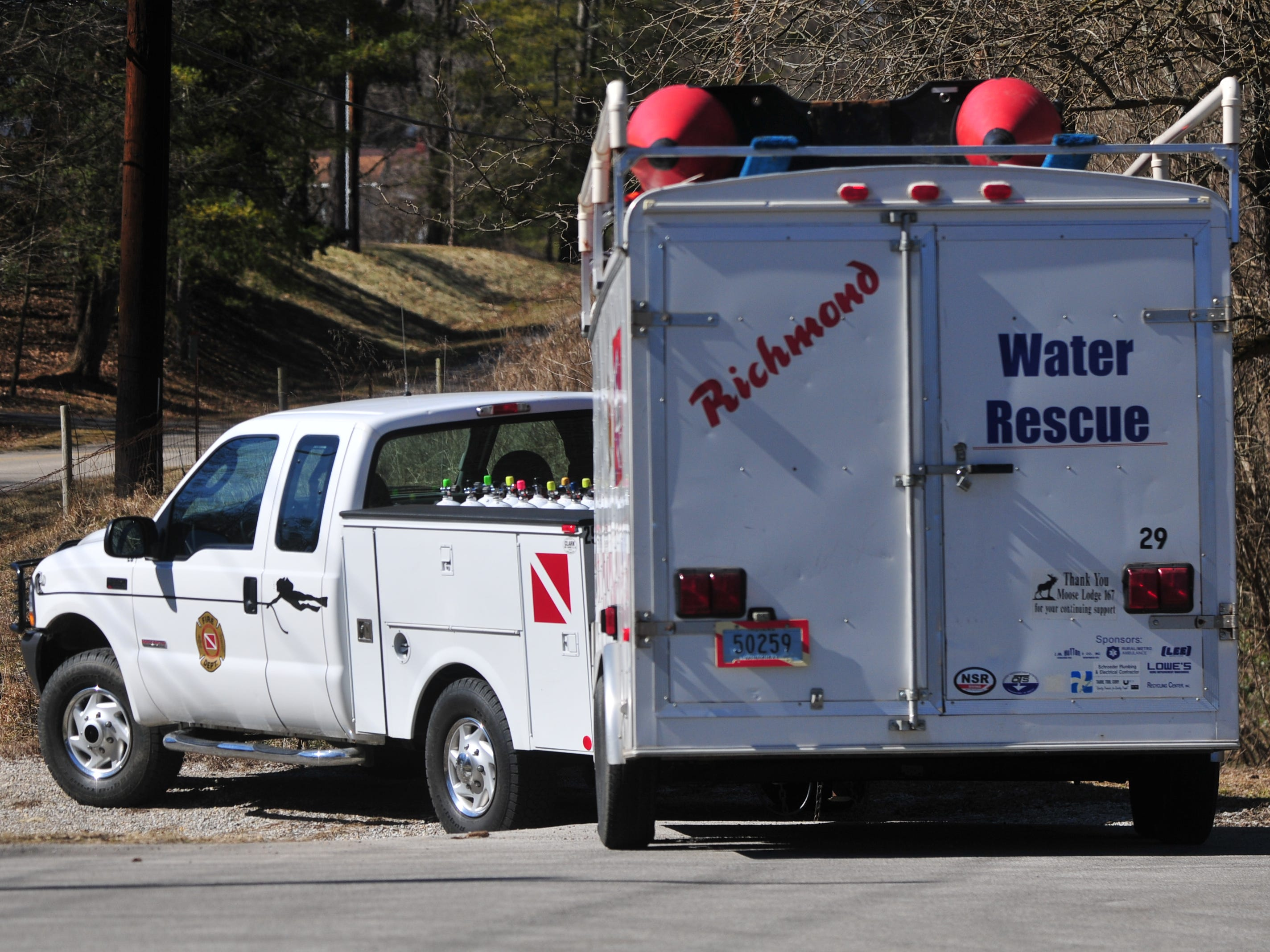 Richmond Fire Department's Water Rescue equipment was on scene at the Test Road trail head Monday afternoon during the search for Jake Huntington.